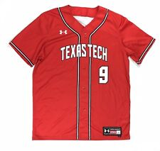 Under Armour Texas Tech #9 Armourfuse Faux Placket Baseball Jersey Men's L Red