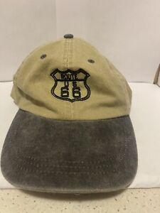Route 66 Tan Grey Adjustable Baseball Cap Hat