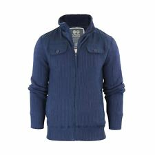 Crosshatch Mirotic Mens Cardigan Jacket Knitted Funnel Neck Fleece Lined Body Persiannight X Large