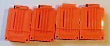 Lot of 4 Nerf Soft Dart Gun 6 Round Magazine Clips - Solid Orange - Genuine