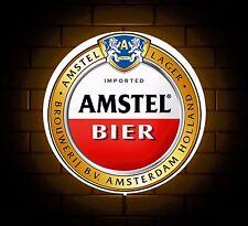 AMSTEL BEER BADGE SIGN LED LIGHT BOX MAN CAVE RETRO DRINK GAMES ROOM BOYS GIFT