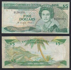 East Caribbean  5 dollars 1988(93) BB/VF  A-10