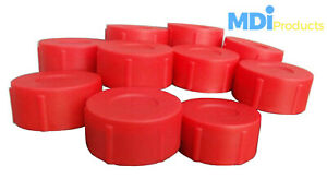 Pack of 10 MDI Protective Plastic Rod Tubes 2.5in (6.3cm) Red End Caps