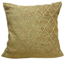 Wd22Ba Gold Brown Damask Chenille Check Throw Cushion Cover/Pillow Case *Size