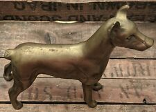 "Vintage Xl Bronze Metal Doberman Pinscher Dog Statue Figurine Msr Imports 7""x8"""