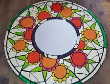 VINTAGE FLOWER POWER WOODEN WALL MIRROR HIPPY COLORS