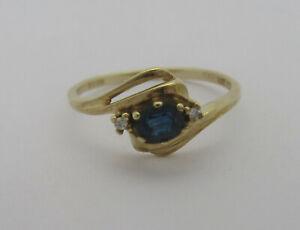 9ct Gold, Sapphire & Diamond Three Stone Twist Effect Ring, UK Size M, US Size 6