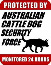 """Protected By Australian Cattle Dog Security Force Monitored 24 Hours"" Dog Sign"