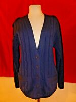 Vintage Pendleton Wool Womens Navy Blue Sweater Cardigan Cable Knit M Medium