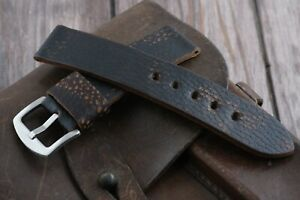 Handmade Leather Watch Strap Vintage Army Style leather Ammo watch band 16-26mm