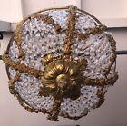 VTG Huge French Brass Barbola & Crystal Chandelier Flush Mount Basket Gorgeous!!