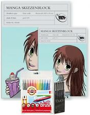 Komplettset Manga zeichnen - Skizzenblock A4+A3 Brush Marker & Touch Liner