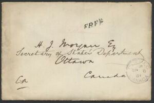 1884 FREE Rated Colonial Office Cover with Letterhead Enclosure Quebec to Ottawa