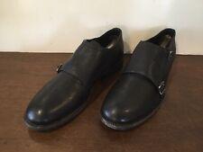 Frye Womens Black Ethan Double  Monk Buffalo Leather Shoes Sz. 9.5