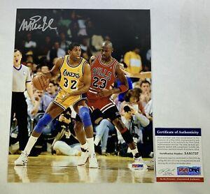 Magic Johnson signed 8x10 photo Michael Jordan PSA DNA COA Los Angeles Lakers