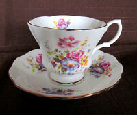 Royal Albert Tea Cup and Saucer set White Floral Chelsea shape Footed Gilded