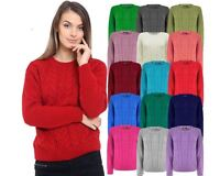 Ladies Women Knitted Long Sleeve Cable Knit Jumper Baggy Chunky Knit Sweater Top