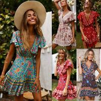 Fashion Boho Floral Printed Beach Dress V-Neck Sundress Ruffled Beach Dresses