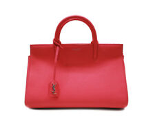 Saint Laurent YSL Women's YSL SMALL CABAS RIVE GAUCHE BAG IN Red GRAINED LEATHER