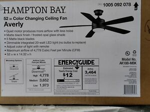 Hampton Bay Averly 52 in. Integrated LED Matte Black Ceiling Fan with Light