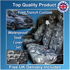 FORD TRANSIT CUSTOM 2018+ GREY CAMO WATERPROOF TAILORED FRONT SEAT COVERS 1+2