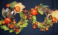 "2 Candle Rings PUMPKIN Pods FALL DECOR HALLOWEEN 2.5"" ORANGE pip berries Acorns"