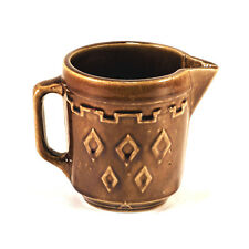 "Antique Brown & Tan Stoneware Ceramic Pitcher – 5"" Tall"