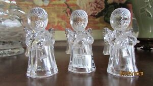 """Mikasa Sweet Angel 4"""" Clear Glass Crystal Taper Candle Holder Austria Lot of 3"""
