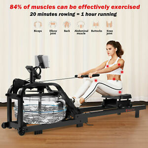 Water Rowing Machine Water Rower Resistance w/ LCD Bluetooth Cardio Training