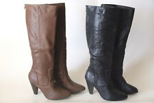 Rampage Women's Brown Black Knee High Heel Boots Rear Zipper SIZE 6-10