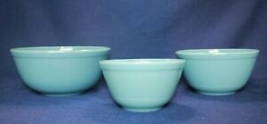 Mosser Glass Mixing Bowl Set of 3 Nesting Georgian Blue Bowls