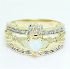 Claddagh Opal & 20 Diamond 9k Solid Gold Celtic Ring - 30 Day REFUNDS Ship