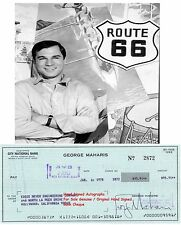 GEORGE MAHARIS   AMERICAN FILM STAR ACTOR  SIGNED BANK CHEQUE / CHECK 1978  RARE
