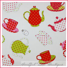 BonEful Fabric FQ Cotton Quilt VTG White B&W Pink Red Teapot Girl Dot Green Xmas