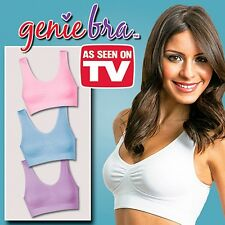 3 NEW LACED PASTEL COLOR AUTHENTIC GENIE BRA XS/S PADDED BLUE,CREAM,PURPLE