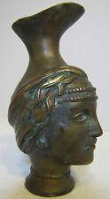 Art Nouveau Figural Pitcher Jug brass/bronze small wonderful patina ornate face