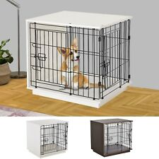 Duo Frame Dog Cage Half Crate w/2 Secure Doors Flat Top Small Animal White/Brown