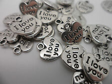 """20 Tibetan Silver """"I love you"""" Heart~Double Sided~Charm~Beads~Approx 12x10 mm"""