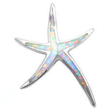 HOLIDAY SPECIAL! WHITE OPAL STARFISH .925 Sterling Silver Pendant