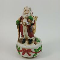 Santa Porcelain Revolving Musical Figurine Holiday Presents Sack Music w/ Box