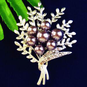 48x37x7mm Purple Pearl Tibetan Silver Rhinestone Tree Pendant Brooch BL10