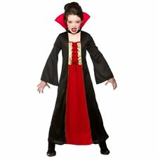 Gothic Girls Vampire Costumes Kids Dracula Halloween Trick Treat