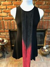 VTG Long Ombre Red Black Fringe Hassle Sleeveless Steampunk Club Shirt Top XS/S