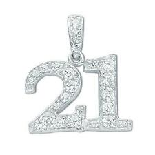 925 Sterling Silver CZ Number 21st Birthday Twenty-First Party Pendant Gift Box
