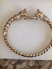 Stella and Dot Bracelet Crystal and Rope detail 2 Lion Heads Gold Tone # 164043