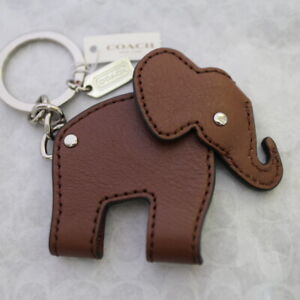 NWT COACH Leather Elephant Keychain Key ring Charm Key FOB 62750 NEW