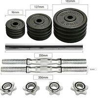 Adjustable CAST IRON Professional Dumbbell & Barbell Set 20kg  Gym Equipment