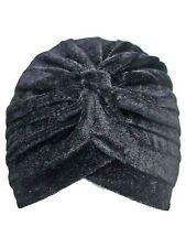 Pleated Velour Turban Head Wrap for Women Black