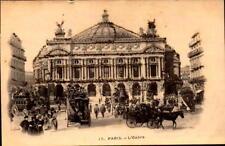Postcard Paris France Opera House Street scene Glitter