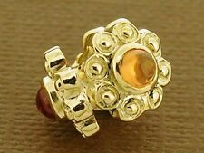 Bd098 Genuine  9ct Solid Gold Natural Citrine Blossom  Bead Flower Charm Pendant